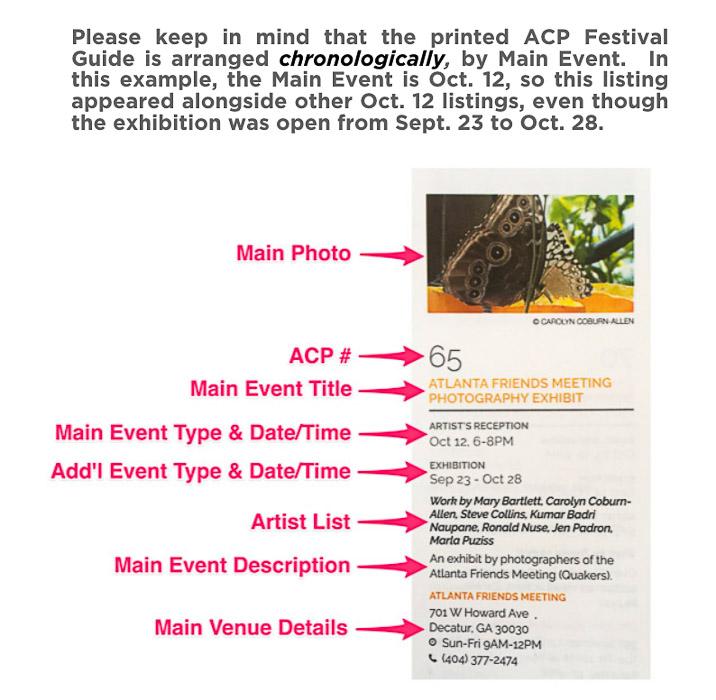 Atlanta Celebrates Photography - Festival Guide FAQ